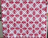 Handmade Antique Palm Red Fabric Patchwork Quilt Geometric Vintage Cotton Quilts Full Size