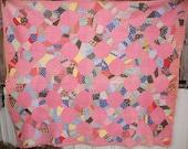 Antique Vintage Patchwork Feed Sack Handmade Quilt Pink