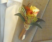 Boutonniere woodland autumn yellow rose with greenery, twigs