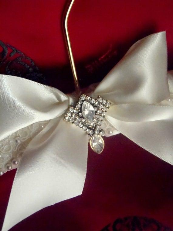 Bridal Wedding Dress Hanger Gorgeous Ivory With Beaded Lace And Rhinestone