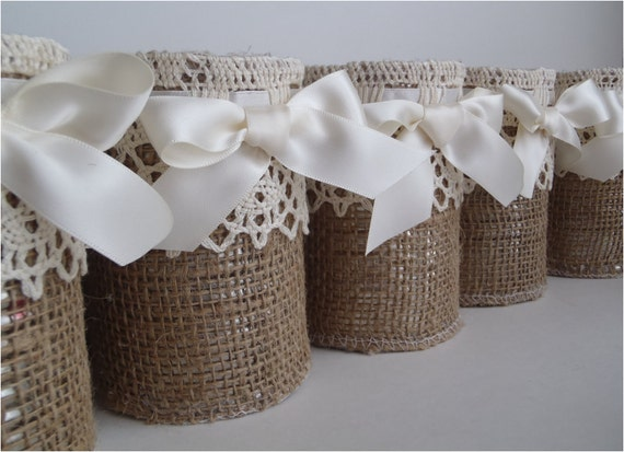 Burlap rustic vases, 14 containers, table decor for wedding upcycled tin cans, cute and woodland