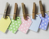 Polka Dot and Gingham --Set of 10--Scallop Die Cut Paper Gift Tags, Hang Tags, Favor Tags--Yellow, Blue, Green, Pink