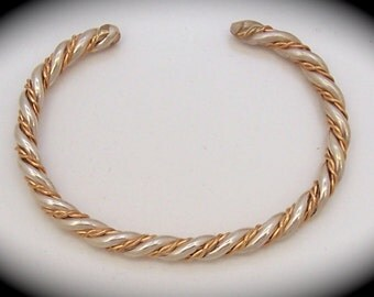 Silver and Gold Twisted Wire Bracelet from an Original Design by this Artist