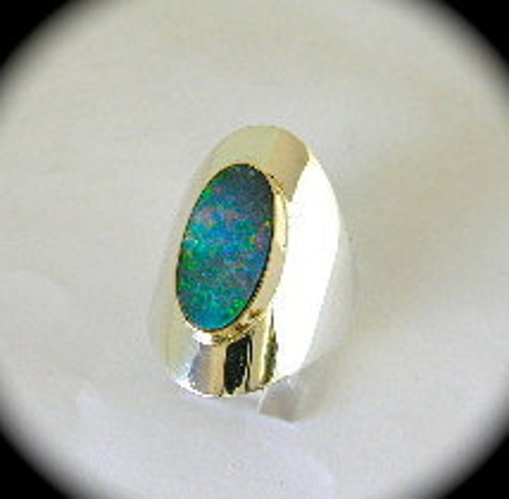 Size 9 1/2 Ladies Ring With Australian Opal in 14k Gold and Sterling