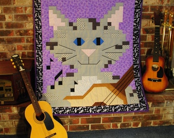 Guitar Cat 3 sizes in 1 Quilt Pattern - PDF