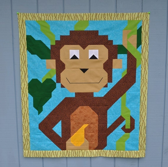 Monkey Baby Quilt Pattern in 3 sizes - PDF