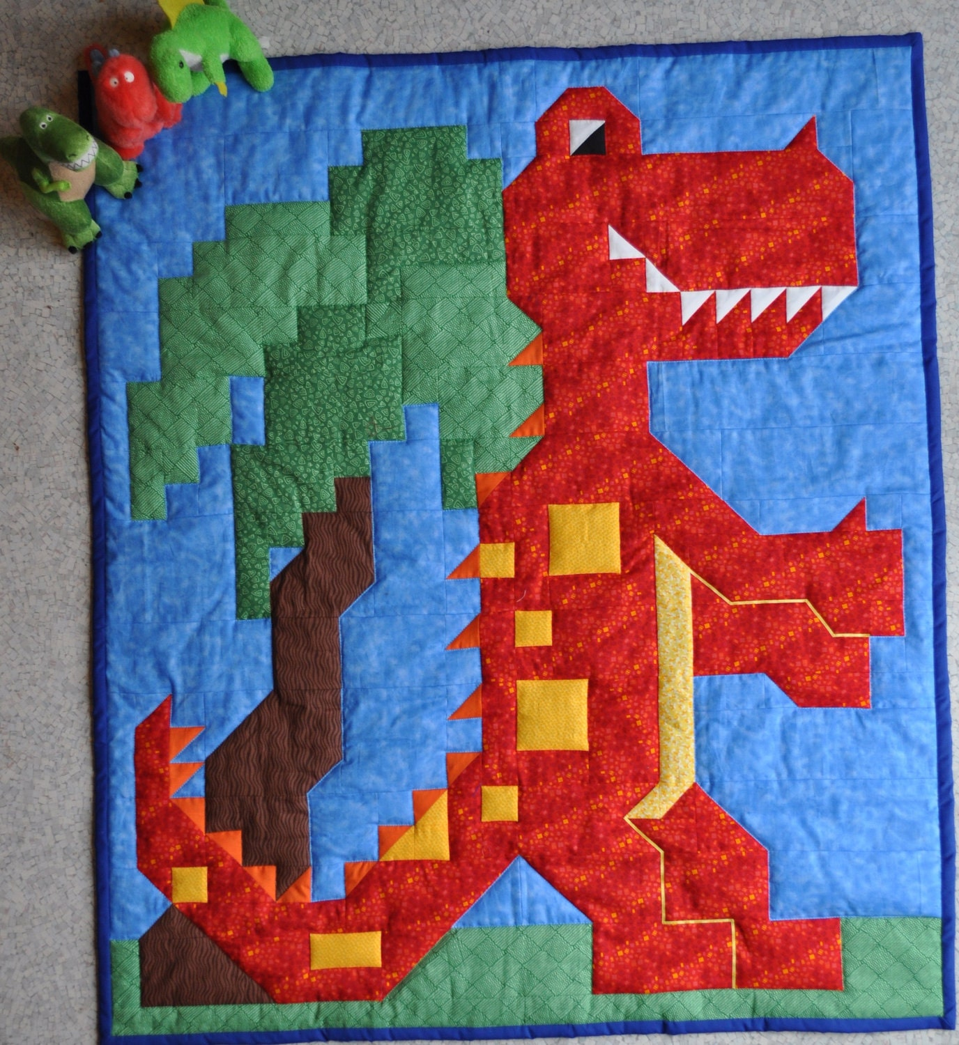 Dinosaur Quilt Pattern In Multiple Sizes Crib To By