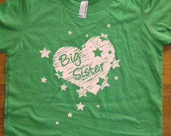 Big Sister Shirt - 8 Colors Available - Kids Girls Big Sister Present - T shirt Sizes 2T, 4T, 6, 8, 10, 12 - Gift Friendly