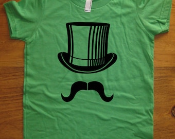 Mustache Shirt - Mr Mustache with Top Hat - 7 Colors Available - Kids Tshirt Sizes 2T, 4T, 6, 8, 10, 12 - Gift Friendly