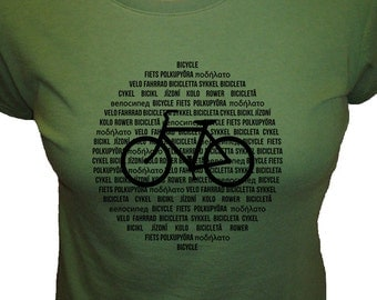 Bicycle Shirt - Organic Womens Shirt - International Bike Languages - 3 Colors Available - Bamboo and Cotton Womens Shirt - Gift Friendly