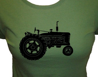 Tractor Shirt - Womens Shirt - Organic T Shirt - 3 Colors Available - Womens Organic Bamboo and Cotton T Shirt - Gift Friendly