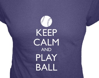 Baseball Shirt - Keep Calm and Carry On - Play Ball - Organic T Shirt - 4 Colors - Organic Bamboo and Cotton T Shirt - Gift Friendly