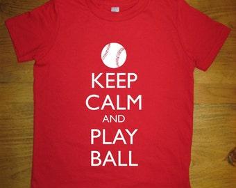 Baseball Shirt / Kids Shirt - Keep Calm and Play Ball - 7 Colors Available - Kids Tshirt Sizes 2T, 4T, 6, 8, 10, 12 - Gift Friendly