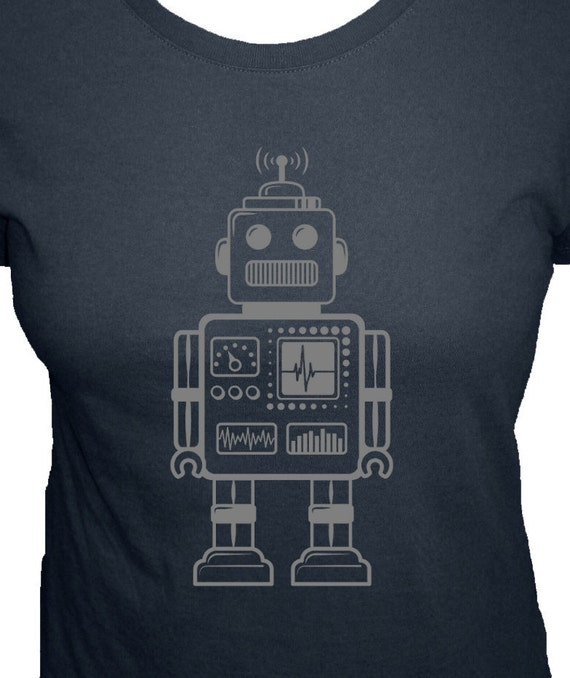 Robot Shirt - Retro Robot T Shirt - Geekery - 4 Colors Available - Organic Bamboo and Cotton Womens Shirt - Gift Friendly - Science Present