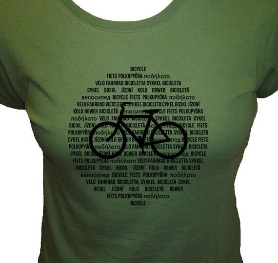 Bicycle Shirt - Organic Womens Shirt - International Bike Languages - 3 Colors Available - Bamboo and Cotton Womens Shirt - Gift Friendly