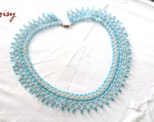 SALE was 47.99 Bead Pearl White Light Blue Turquoise Bridal Elegant Chest Crochet Collar Ottoman Necklace Art Jewelry Upcycled