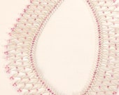 SALE was 47.99 Bridal Elegant Beaded Chevron Lacy Chest Crochet Pearl White Pink Necklace Collar