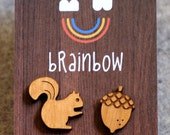 Wooden Squirrel Earring
