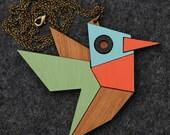 Geometric Hummingbird Necklace / Brooch