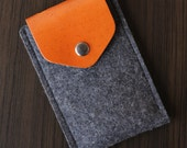 iPhone Felt / Leather Case with Secret Pocket - Dark Grey