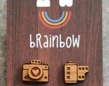 Wooden Camera Earrings