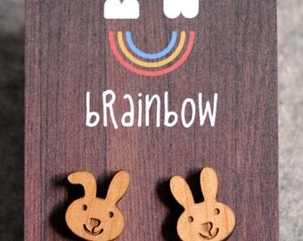 Wooden Rabbit Earring
