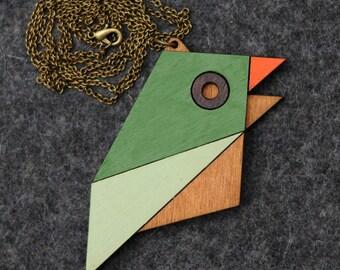 Geometric Bird Necklace Sparrow