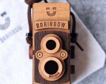 Wooden Twin Lens Camera Necklace