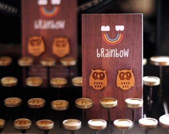 Wooden Owl Earring