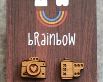 Wooden Camera Earrings