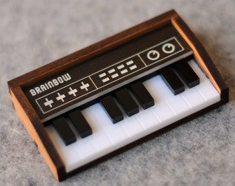 Wooden Keyboard Brooch / Necklace