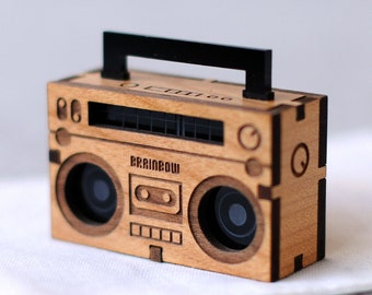 Wooden Boom Box Necklace