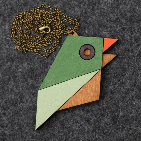 Geometric Bird Necklace Sparrow