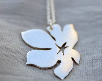 flower pendant floating blossom necklace minimalist jewelry