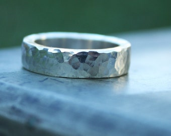 Hammered Textured Sterling Silver Ring chunky 5.5mm wide band