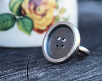 button ring sterling silver button cute as a button quirky jewelry by Lola&Cash
