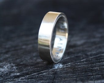 Mens Wedding Ring Unisex Ring Satin Finish Sterling Band, 5mm