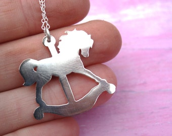 horse necklace rocking horse pendant sterling silver delicate silhouette animal whimsical jewelry