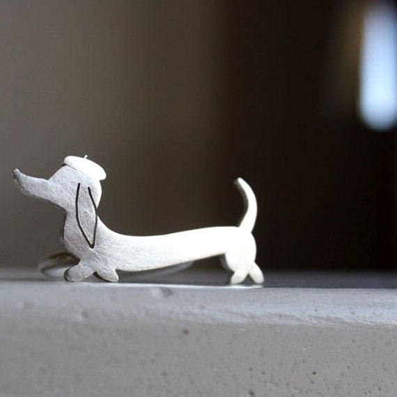 Wiener Sausage Dog Ring Dachshund Jewelry Little Lola Ring