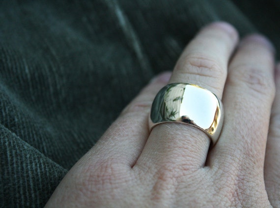 wide dome ring chunky sterling silver ring round domed ring