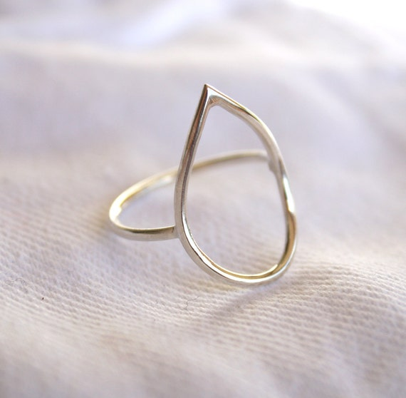 teardrop ring water drop sterling silver wire ring dainty romantic weather jewelry minimalist ring