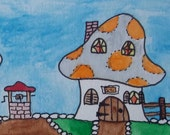 ACEO Original Watercolor Fairy Mushroom House Little Fairy Lane