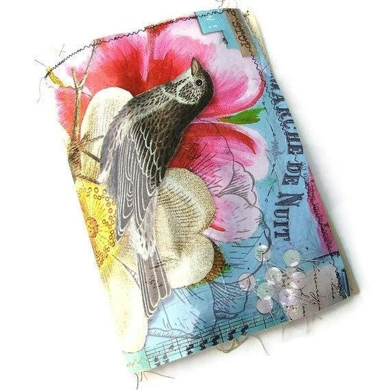 Handmade Art Journal - fabric covered Scrap journal - Photo album - diary - notebook - Junk Journal- Junque book