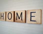 "Canvas Art - HOME - Vintage Inspired Scrabble Tiles on Canvas 8"" x 8"""