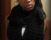 Fall Black Crochet Scarf