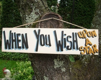 When You WISH UPON a STAR - Country Rustic Primitive Shabby Chic Wood Handmade Sign Plaque