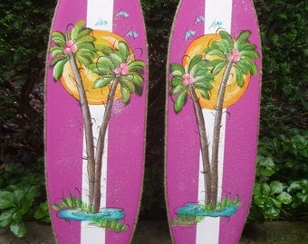 Tropical Surfboard Wall Art Hanging Patio Plaque Sign