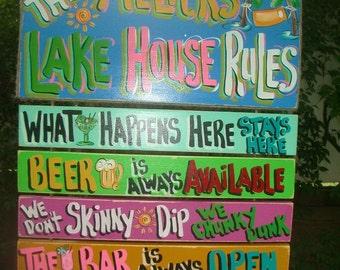 Tropical Welcome Paradise Lake Pool House Rules Patio Beach Cabana Hot Tub Tiki Bar Hut Parrothead Wood Sign Plaque