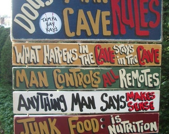 Ultimate PERSONALIZED MAN SPORTS Cave - Country Rustic Primitive Shabby Chic Wood Handmade Sign Plaque