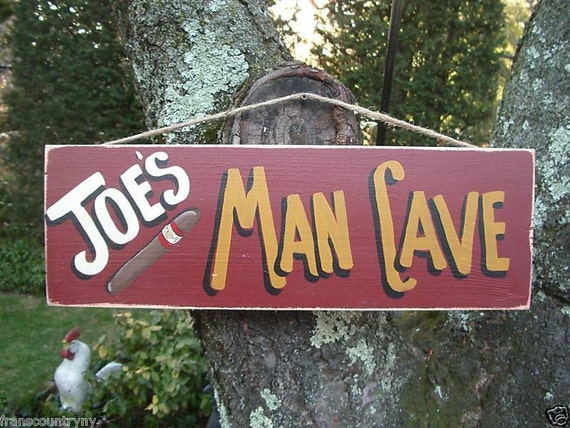 PERSONALIZED MAN CAVE - Country Rustic Primitive Shabby Chic Wood Handmade Sign Plaque